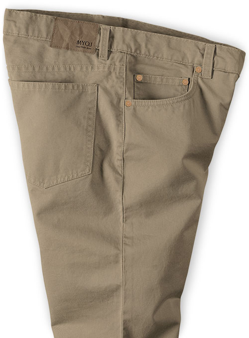 Dark Beige Stretch Chino Jeans - Click Image to Close