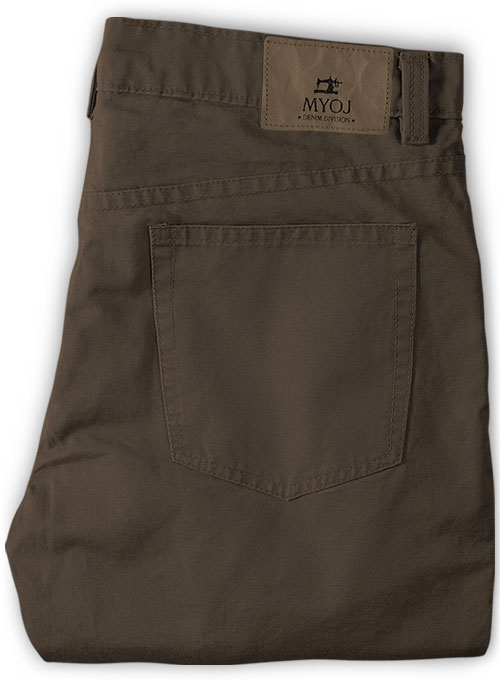 Dark Brown Stretch Chino Jeans - Click Image to Close