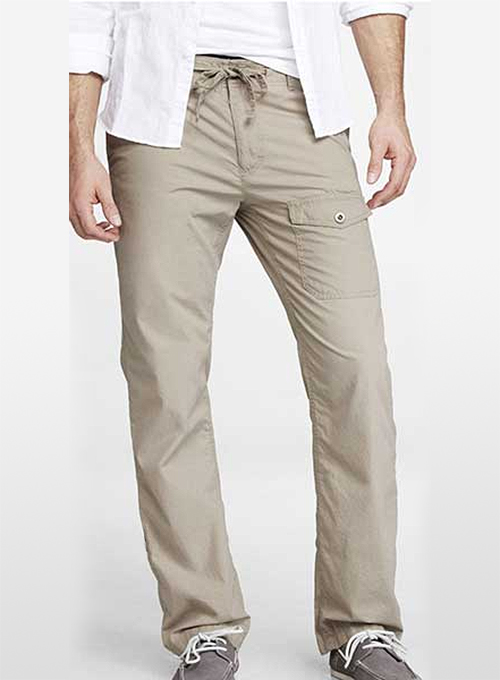 Drawstring Cargo Cotton Pants