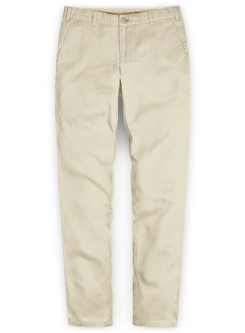 Mid Khaki Fine Twill Pants Washed