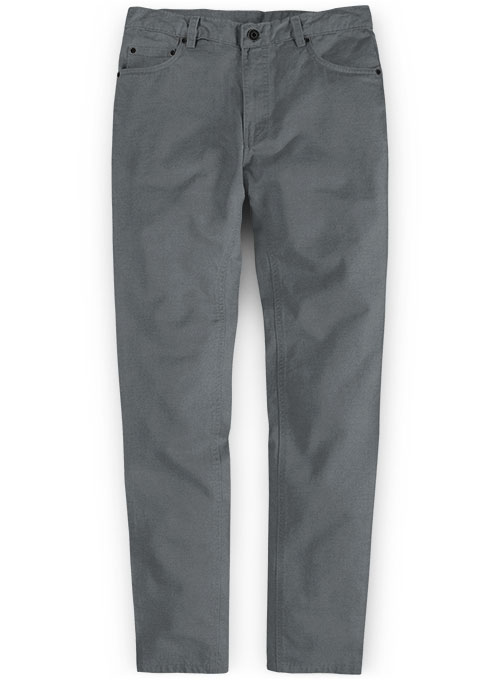 Gray Feather Cotton Canvas Stretch Jeans