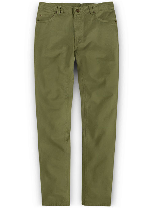 Green Feather Cotton Canvas Stretch Jeans