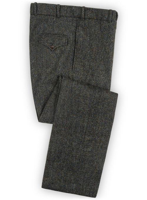 Harris Tweed Ridge Blue Herringbone Pants