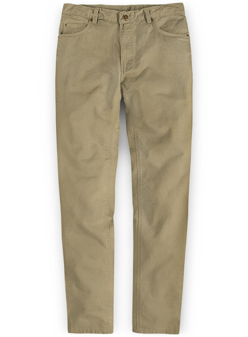 Heavy Knit Khaki Stretch Chino Jeans