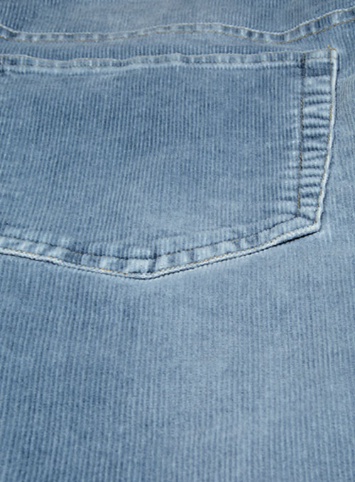 Indigo Corduroy Stretch Jeans - Stone Wash - Click Image to Close