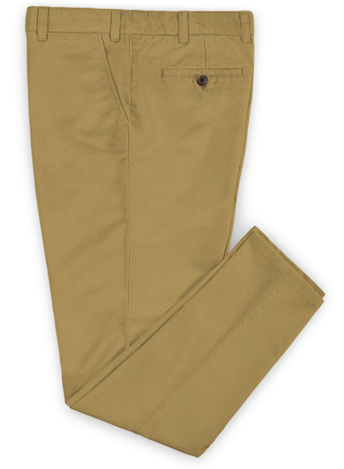 Khaki Feather Cotton Canvas Stretch Chino Pants - Click Image to Close