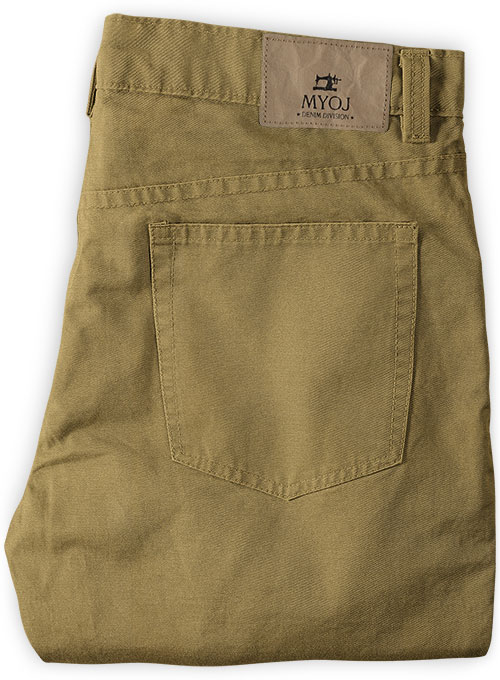 Khaki Peach Finish Chino Jeans - Click Image to Close