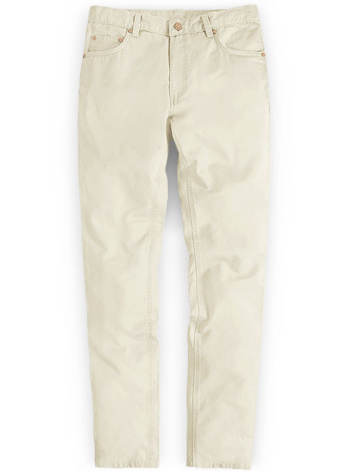 Light Beige Feather Cotton Canvas Stretch Jeans