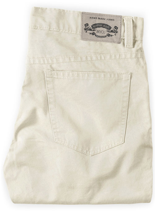 Light Beige Feather Cotton Canvas Stretch Jeans - Click Image to Close