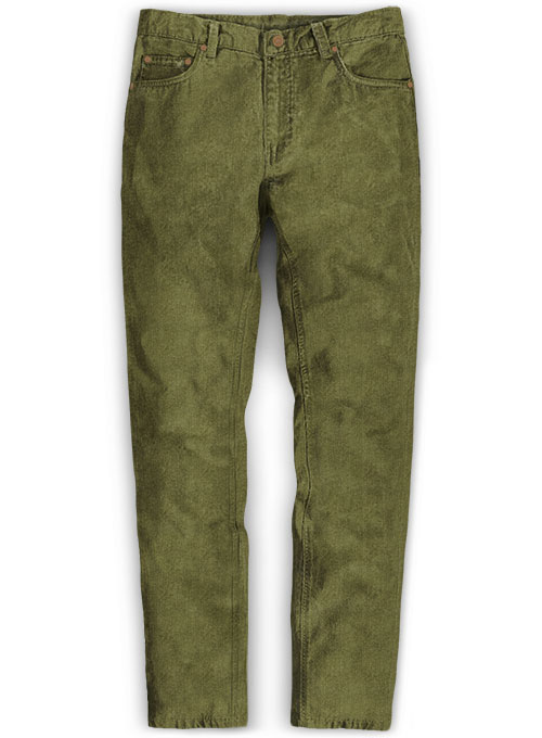Moss Green Stretch Corduroy Jeans - 21 Wales