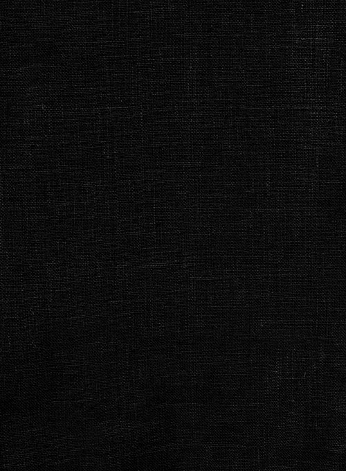 Pure Black Linen Pants - Click Image to Close