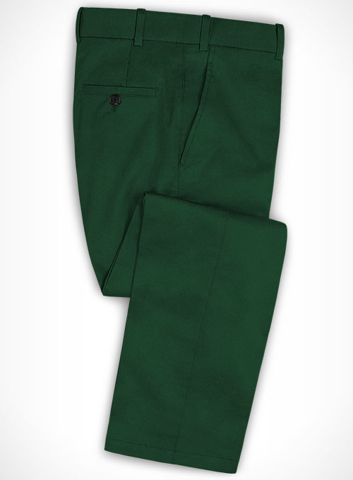 Royal Green Cotton Stretch Pants