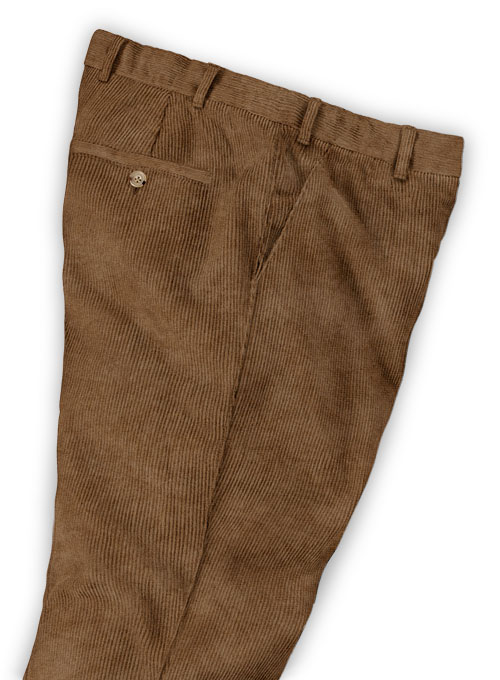 Rust Brown Thick Corduroy Trousers - 8 Wales