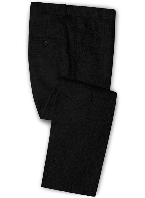 Safari Black Cotton Linen Pants