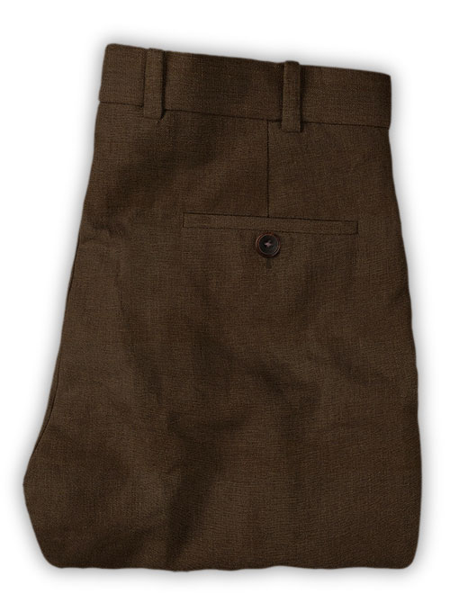 Safari Brown Cotton Linen Pants - Click Image to Close