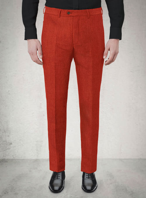 Safari Red Cotton Linen Pants