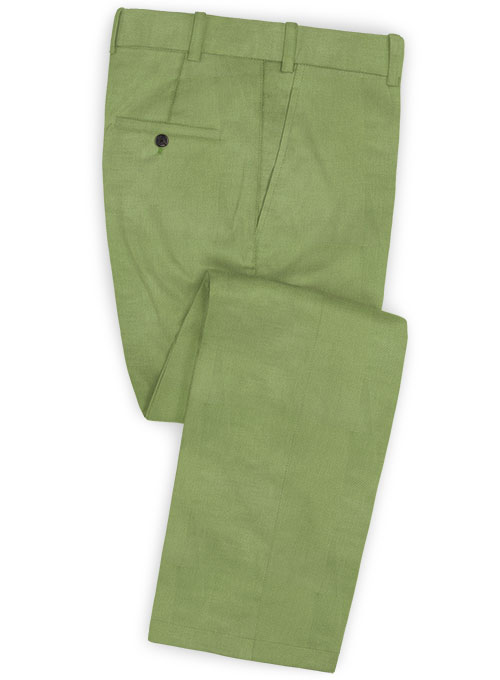 Sea Green Cotton Stretch Pants