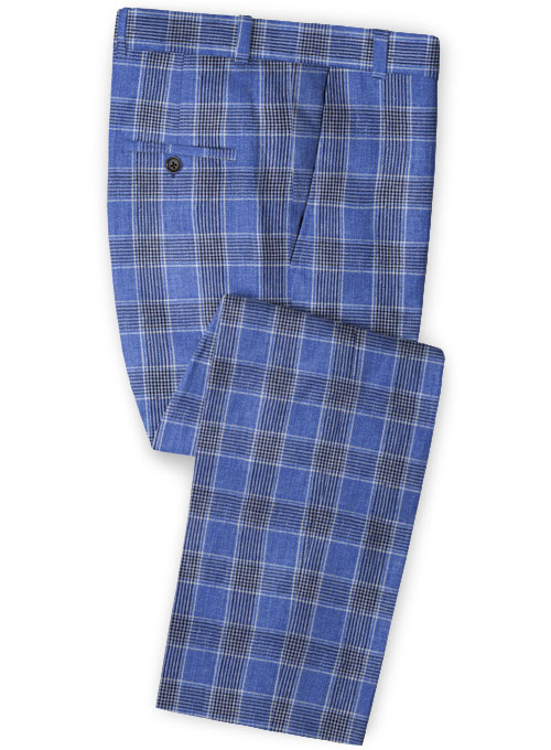 Solbiati Blue Checks Linen Pants