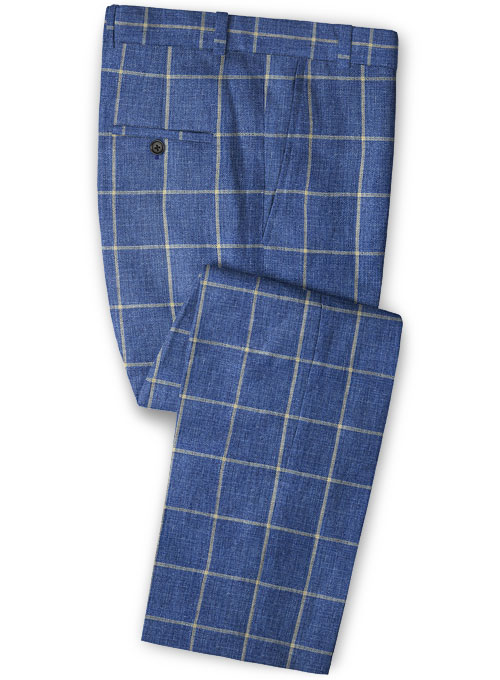 Solbiati Blue Windowpane Linen Pants