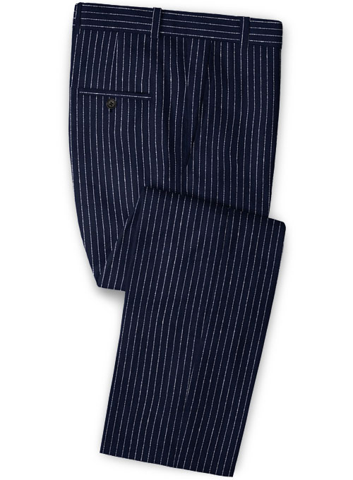 Solbiati Dark Blue Stripes Linen Pants