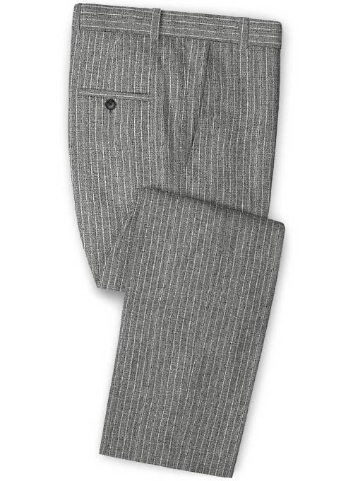 Solbiati Gray Stripes Linen Pants