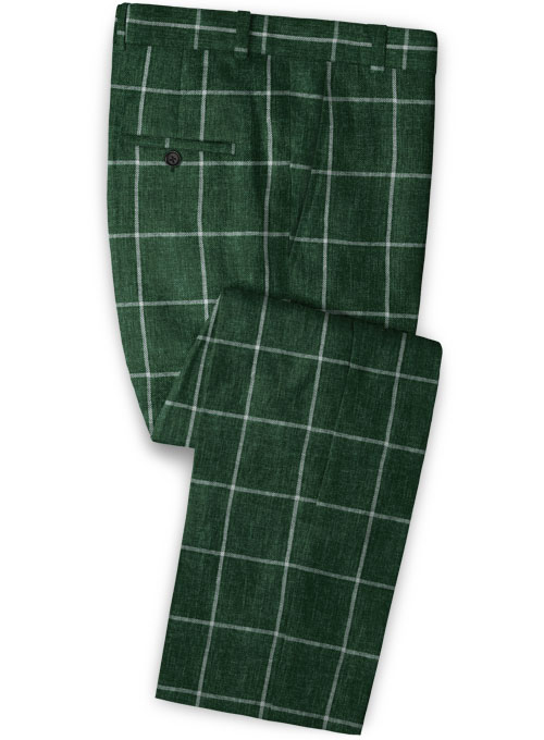 Solbiati Green Windowpane Linen Pants