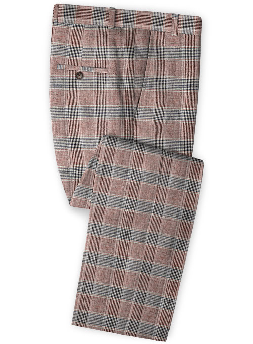 Solbiati Wine Checks Linen Pants