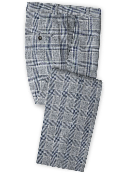 Solbiati Gray Checks Linen Pants