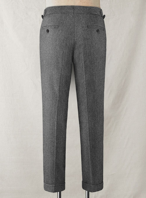 Vintage Herringbone Gray Highland Tweed Trousers - Click Image to Close