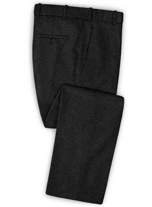 Vintage Plain Black Tweed Pants