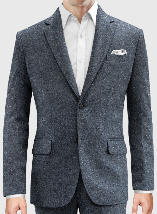 Arc Blue Herringbone Flecks Donegal Tweed Jacket - Click Image to Close