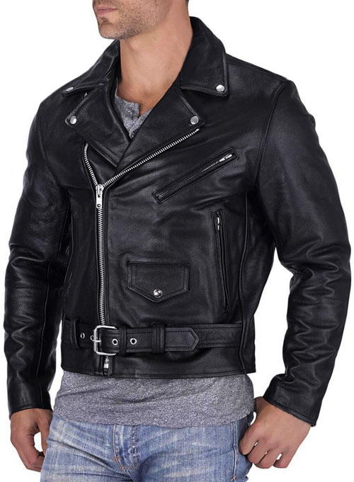 Pure Leather Biker Jacket #1 - Click Image to Close