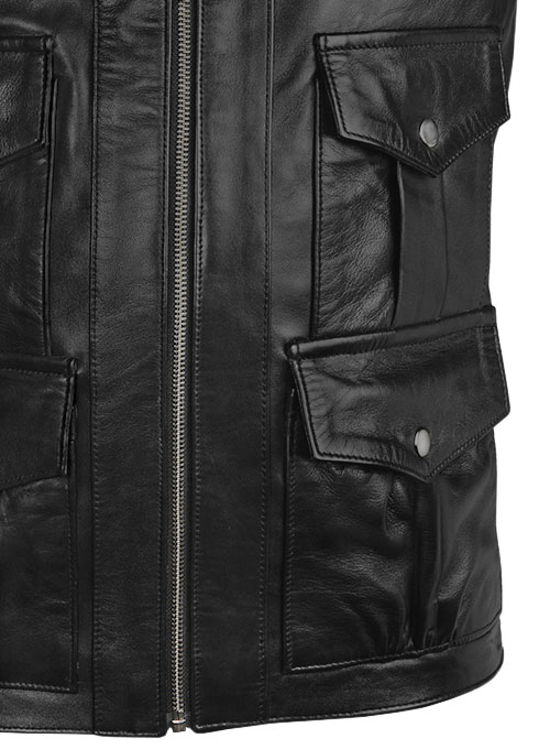 Black Daniel Craig Royal Casino Leather Jacket