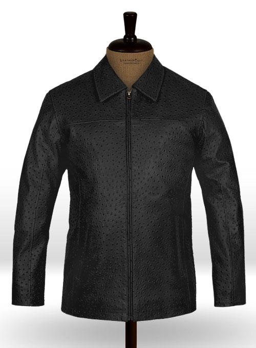 Black Ostrich Leather Hipster Jacket #2