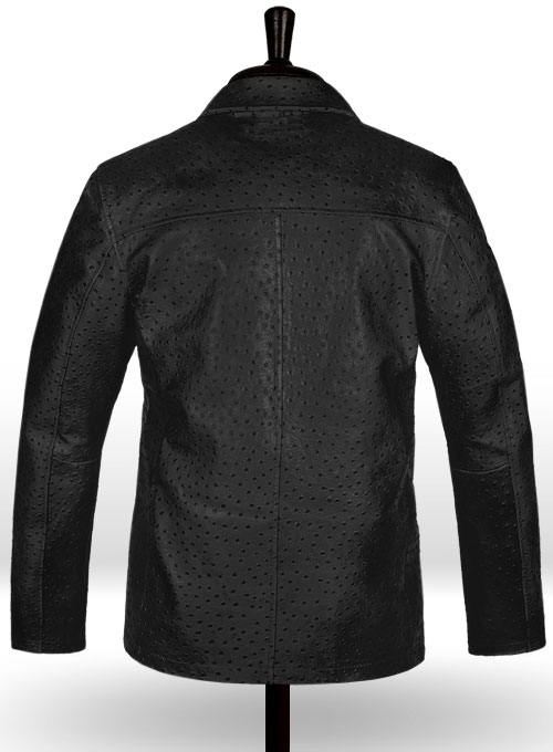 Black Ostrich Leather Hipster Jacket #2 - Click Image to Close