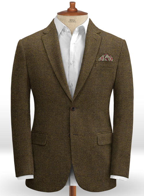 Bottle Brown Herringbone Tweed Jacket
