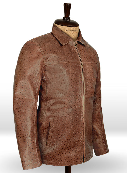 Brown Ostrich Leather Hipster Jacket #2 - Click Image to Close
