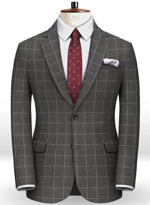 Charcoal Windowpane Flannel Wool Jacket Makeyourownjeans