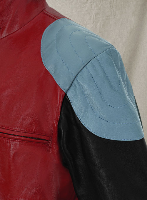 Cherry Red Akon Leather Jacket - Click Image to Close