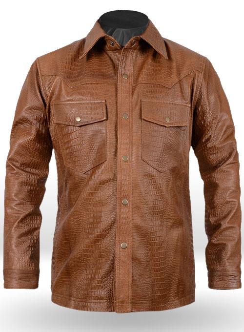 Crocodile Brown V Tab Leather Shirt Jacket ...