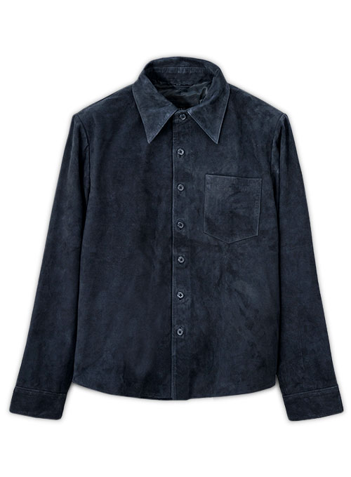 Dark Blue Suede Classic Leather Shirt