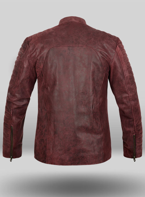 Dark Vintage Red Leather Jacket # 645 - Click Image to Close