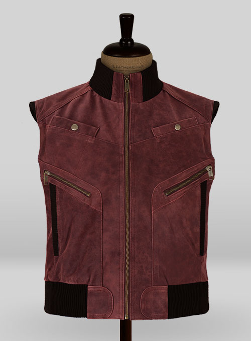 Dark Vintage Red Leather Biker Vest # 314