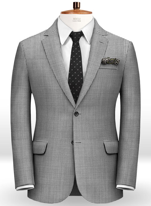 Dogtooth Wool Light Gray Jacket