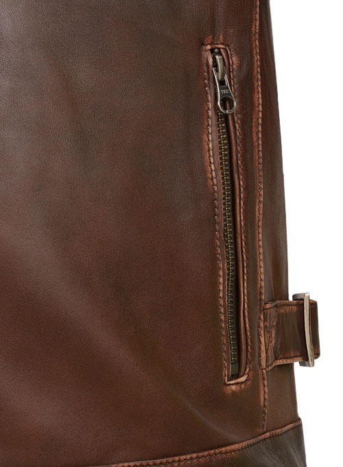 Espresso Rubbed Tan Leather Jacket - Click Image to Close