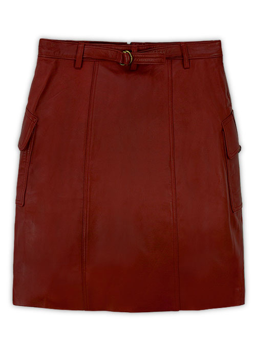 Cherry Red Front Pocket Leather Skirt - # 147 - L Regular