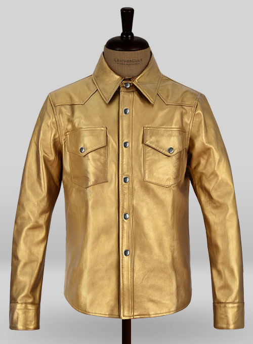 Golden Leather Shirt Jacket - #1S