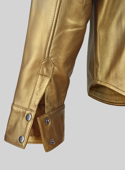 Golden Leather Shirt Jacket - #1S - Click Image to Close