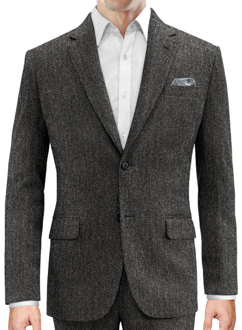 Harris Tweed Dark Gray Herringbone Jacket - Click Image to Close