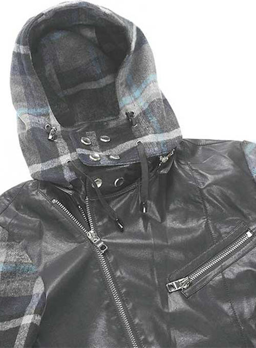 Hooded Tweed Leather Combo Jacket # 629